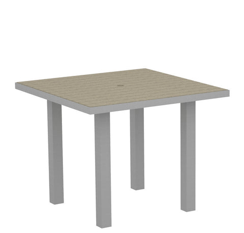 "Polywood AT36FASSA Euro 36"" Square Dining Table in Textured Silver Aluminum Frame / Sand - PolyFurnitureStore"
