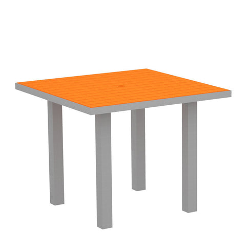 "Polywood AT36FASTA Euro 36"" Square Dining Table in Textured Silver Aluminum Frame / Tangerine - PolyFurnitureStore"