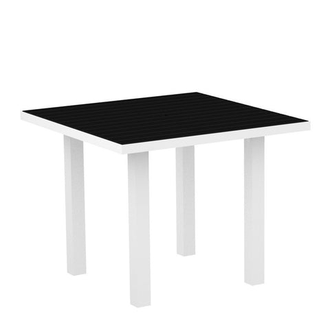 "Polywood AT36FAWBL Euro 36"" Square Dining Table in Gloss White Aluminum Frame / Black - PolyFurnitureStore"