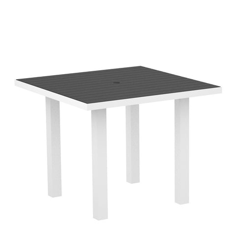"Polywood AT36FAWGY Euro 36"" Square Dining Table in Gloss White Aluminum Frame / Slate Grey - PolyFurnitureStore"