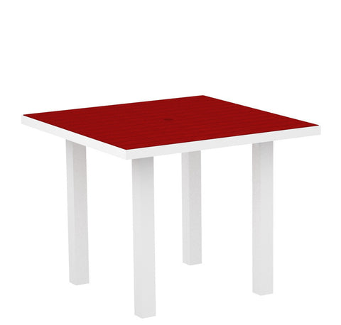"Polywood AT36FAWSR Euro 36"" Square Dining Table in Gloss White Aluminum Frame / Sunset Red - PolyFurnitureStore"