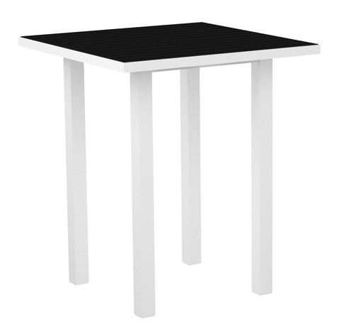 "Polywood ATB36-13BL Euro 36"" Square Bar Table in Textured White Aluminum Frame / Black - PolyFurnitureStore"
