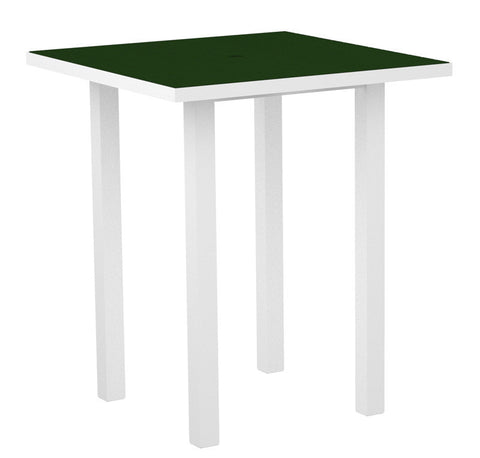 "Polywood ATB36-13GR Euro 36"" Square Bar Table in Textured White Aluminum Frame / Green - PolyFurnitureStore"