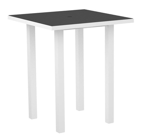 "Polywood ATB36-13GY Euro 36"" Square Bar Table in Textured White Aluminum Frame / Slate Grey - PolyFurnitureStore"