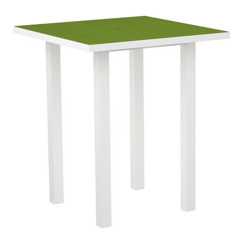 "Polywood ATB36-13LI Euro 36"" Square Bar Table in Textured White Aluminum Frame / Lime - PolyFurnitureStore"