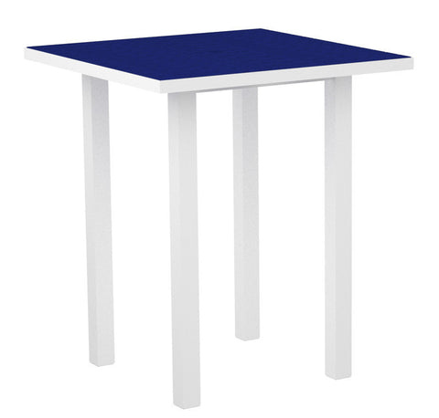 "Polywood ATB36-13PB Euro 36"" Square Bar Table in Textured White Aluminum Frame / Pacific Blue - PolyFurnitureStore"