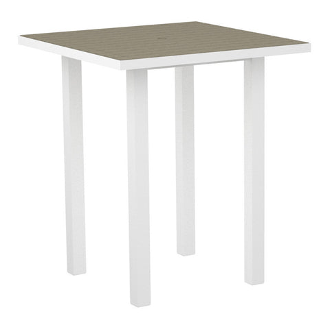 "Polywood ATB36-13SA Euro 36"" Square Bar Table in Textured White Aluminum Frame / Sand - PolyFurnitureStore"