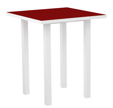 "Polywood ATB36-13SR Euro 36"" Square Bar Table in Textured White Aluminum Frame / Sunset Red - PolyFurnitureStore"