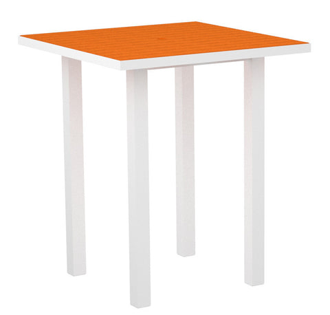 "Polywood ATB36-13TA Euro 36"" Square Bar Table in Textured White Aluminum Frame / Tangerine - PolyFurnitureStore"