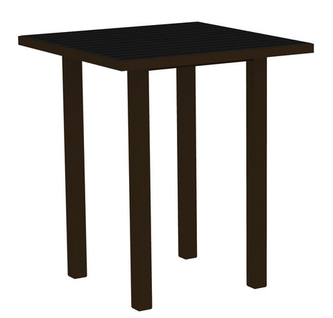 "Polywood ATB36-16BL Euro 36"" Square Bar Table in Textured Bronze Aluminum Frame / Black - PolyFurnitureStore"