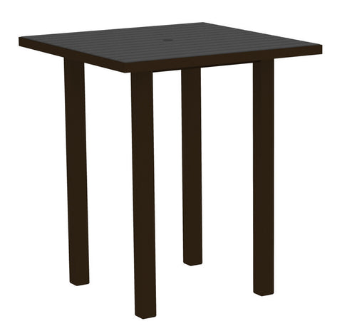 "Polywood ATB36-16GY Euro 36"" Square Bar Table in Textured Bronze Aluminum Frame / Slate Grey - PolyFurnitureStore"