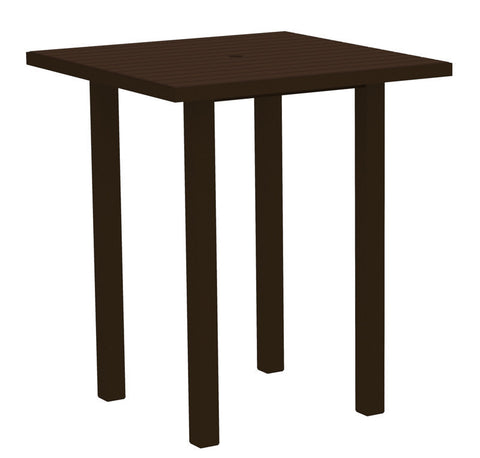 "Polywood ATB36-16MA Euro 36"" Square Bar Table in Textured Bronze Aluminum Frame / Mahogany - PolyFurnitureStore"