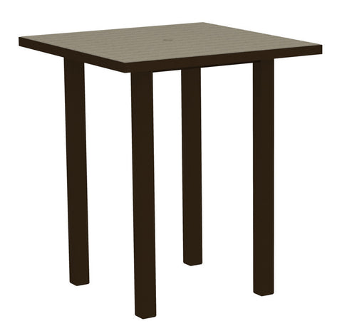 "Polywood ATB36-16SA Euro 36"" Square Bar Table in Textured Bronze Aluminum Frame / Sand - PolyFurnitureStore"