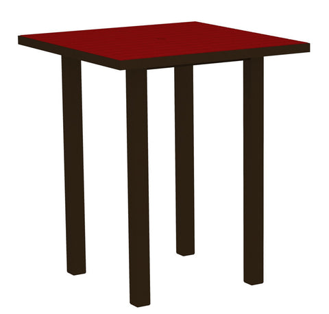 "Polywood ATB36-16SR Euro 36"" Square Bar Table in Textured Bronze Aluminum Frame / Sunset Red - PolyFurnitureStore"