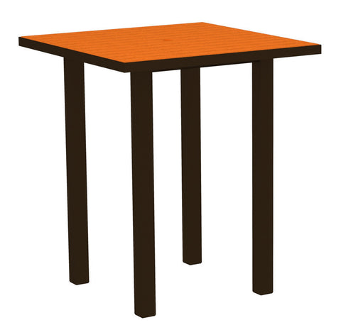 "Polywood ATB36-16TA Euro 36"" Square Bar Table in Textured Bronze Aluminum Frame / Tangerine - PolyFurnitureStore"
