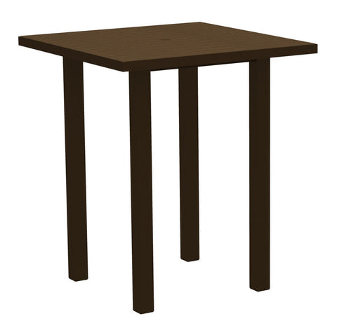 "Polywood ATB36-16TE Euro 36"" Square Bar Table in Textured Bronze Aluminum Frame / Teak - PolyFurnitureStore"