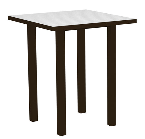 "Polywood ATB36-16WH Euro 36"" Square Bar Table in Textured Bronze Aluminum Frame / White - PolyFurnitureStore"