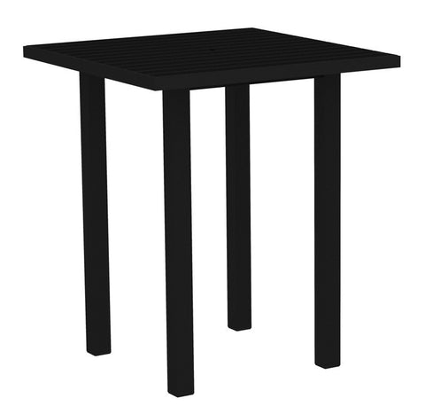 "Polywood ATB36FABBL Euro 36"" Square Bar Table in Textured Black Aluminum Frame / Black - PolyFurnitureStore"