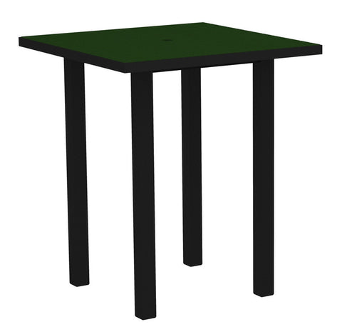 "Polywood ATB36FABGR Euro 36"" Square Bar Table in Textured Black Aluminum Frame / Green - PolyFurnitureStore"