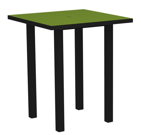 "Polywood ATB36FABLI Euro 36"" Square Bar Table in Textured Black Aluminum Frame / Lime - PolyFurnitureStore"