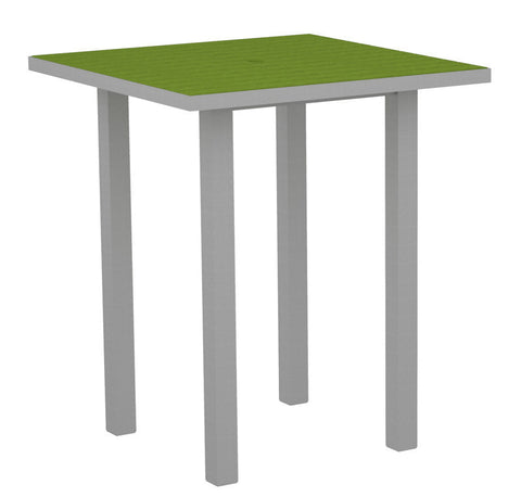 "Polywood ATB36FASLI Euro 36"" Square Bar Table in Textured Silver Aluminum Frame / Lime - PolyFurnitureStore"