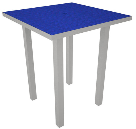 "Polywood ATB36FASPB Euro 36"" Square Bar Table in Textured Silver Aluminum Frame / Pacific Blue - PolyFurnitureStore"