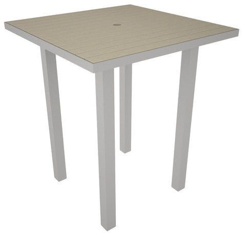 "Polywood ATB36FASSA Euro 36"" Square Bar Table in Textured Silver Aluminum Frame / Sand - PolyFurnitureStore"