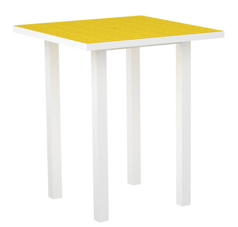 "Polywood ATB36FAWLE Euro 36"" Square Bar Table in Gloss White Aluminum Frame / Lemon - PolyFurnitureStore"