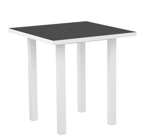 "Polywood ATR36-13GY Euro 36"" Square Counter Table in Textured White Aluminum Frame / Slate Grey - PolyFurnitureStore"