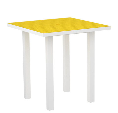 "Polywood ATR36-13LE Euro 36"" Square Counter Table in Textured White Aluminum Frame / Lemon - PolyFurnitureStore"