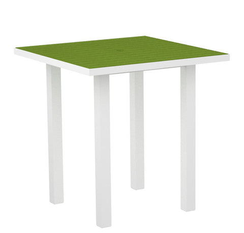 "Polywood ATR36-13LI Euro 36"" Square Counter Table in Textured White Aluminum Frame / Lime - PolyFurnitureStore"