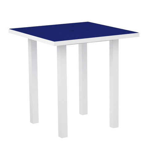 "Polywood ATR36-13PB Euro 36"" Square Counter Table in Textured White Aluminum Frame / Pacific Blue - PolyFurnitureStore"