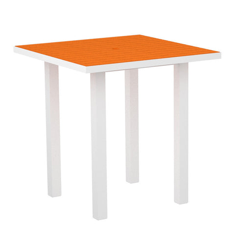 "Polywood ATR36-13TA Euro 36"" Square Counter Table in Textured White Aluminum Frame / Tangerine - PolyFurnitureStore"
