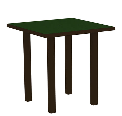 "Polywood ATR36-16GR Euro 36"" Square Counter Table in Textured Bronze Aluminum Frame / Green - PolyFurnitureStore"
