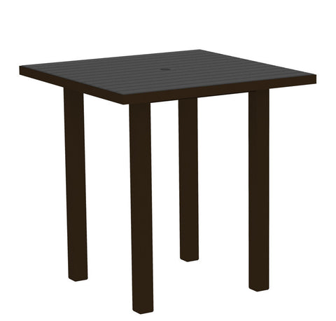 "Polywood ATR36-16GY Euro 36"" Square Counter Table in Textured Bronze Aluminum Frame / Slate Grey - PolyFurnitureStore"