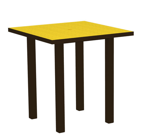 "Polywood ATR36-16LE Euro 36"" Square Counter Table in Textured Bronze Aluminum Frame / Lemon - PolyFurnitureStore"