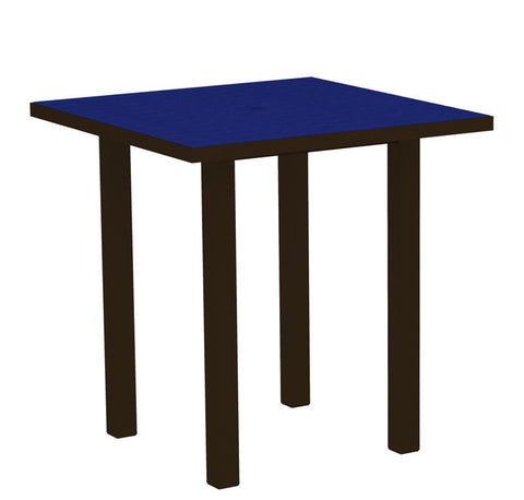 "Polywood ATR36-16PB Euro 36"" Square Counter Table in Textured Bronze Aluminum Frame / Pacific Blue - PolyFurnitureStore"
