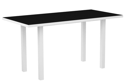 "Polywood ATR3672-13BL Euro 36"" x 72"" Counter Table in Textured White Aluminum Frame / Black - PolyFurnitureStore"