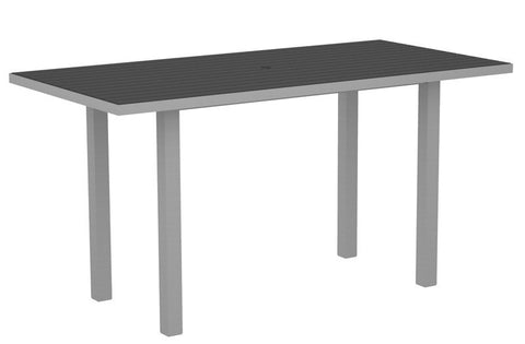 "Polywood ATR3672FASGY Euro 36"" x 72"" Counter Table in Textured Silver Aluminum Frame / Slate Grey - PolyFurnitureStore"