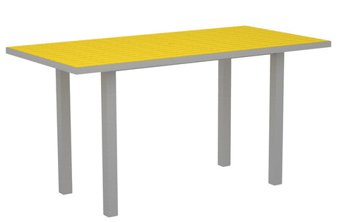 "Polywood ATR3672FASLE Euro 36"" x 72"" Counter Table in Textured Silver Aluminum Frame / Lemon - PolyFurnitureStore"