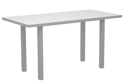"Polywood ATR3672FASWH Euro 36"" x 72"" Counter Table in Textured Silver Aluminum Frame / White - PolyFurnitureStore"