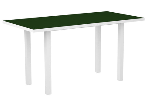 "Polywood ATR3672FAWGR Euro 36"" x 72"" Counter Table in Gloss White Aluminum Frame / Green - PolyFurnitureStore"
