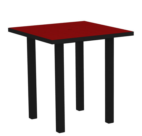 "Polywood ATR36FABSR Euro 36"" Square Counter Table in Textured Black Aluminum Frame / Sunset Red - PolyFurnitureStore"