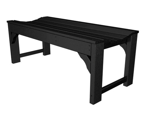 "Polywood BAB148BL Traditional Garden 48"" Backless Bench in Black - PolyFurnitureStore"