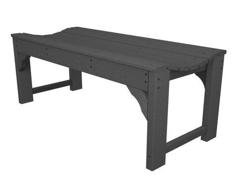 "Polywood BAB148GY Traditional Garden 48"" Backless Bench in Slate Grey - PolyFurnitureStore"