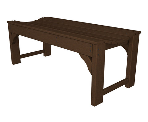 "Polywood BAB148MA Traditional Garden 48"" Backless Bench in Mahogany - PolyFurnitureStore"