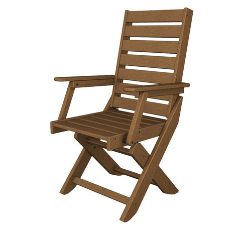 Polywood CC4423-1TE Captain Dining Chair in Teak - PolyFurnitureStore
