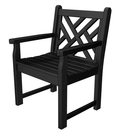 Polywood CDB24BL Chippendale Garden Arm Chair in Black - PolyFurnitureStore