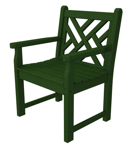 Polywood CDB24GR Chippendale Garden Arm Chair in Green - PolyFurnitureStore