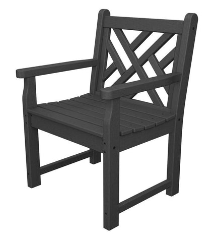 Polywood CDB24GY Chippendale Garden Arm Chair in Slate Grey - PolyFurnitureStore